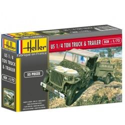 Heller 79997, US 1/4 TON TRUCK & TRAILER, skala 1:72