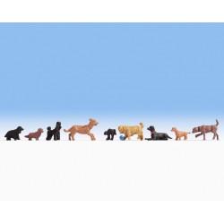 NOCH 15719, Dziewięć psów, (set.2) figurki H0 malowane