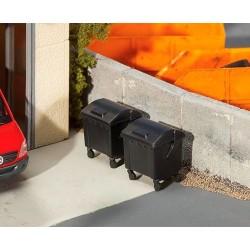 Faller 180933, Dwa pojemniki na śmieci, czarne, H0
