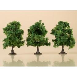 Auhagen 70936, Drzewa liściaste, 3 sztuki, ~7 cm. Ciemnozielone.