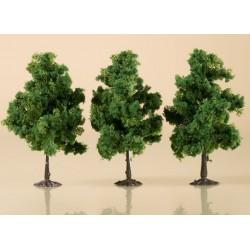 Auhagen 70938, Drzewa liściaste, 3 sztuki, ~11 cm. Ciemnozielone.