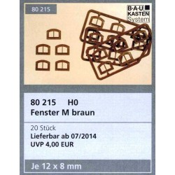 "Auhagen 80215, Okna ""M"" brązowe. 20 szt. H0"