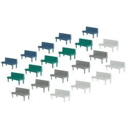 Faller 180441, Ławki parkowe, 20 sztuk w czterech kolorach, skala H0.
