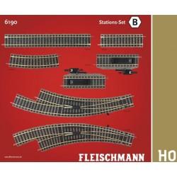 """Fleischmann 6190, Zestaw torów B """"stacja"""", H0 Profi-Gleis."""