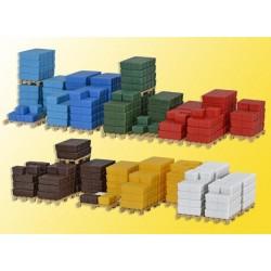 KIBRI 38662, Zestaw ładunków, skrzynki, palety, skala H0