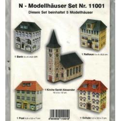 Heki 11001, Pięć budynków, modele kartonowe, skala N (1:160)