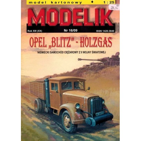 MODELIK 0916, OPEL BLITZ - Holzgas, skala 1:25
