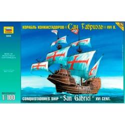 """Zvezda 9008, """"San Gabriel"""" Conquistadores Ship XVI w, 1/100"""