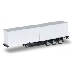 Herpa 076494, 40 ft. Containerchassis Krone with 2 x 20 ft. Container, skala H0.