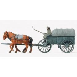 Preiser 16570, Zaprzęg konny z wozem Hf1, skala H0
