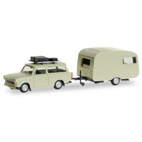 Herpa 028790, Trabant 601 Universal z przyczepą, skala H0