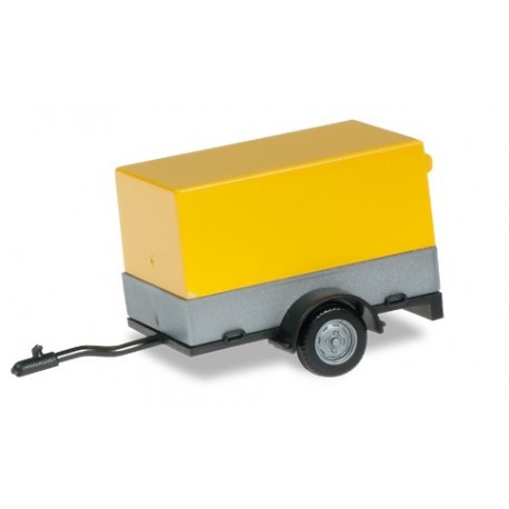 Herpa 051576 -002, Car trailer with open canvas, sign yellow, skala H0