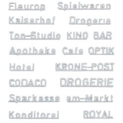 Faller 180964, Szyldy: nazwy sklepów (DE), lata 70-te., zestaw