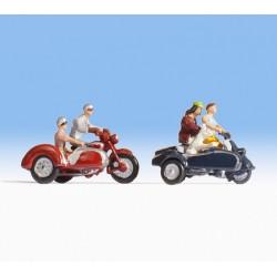 NOCH 15905, Dwa motocykle z koszem i motocykliści, skala H0