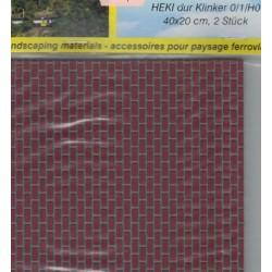 Heki 72242, Dwa mury ceglane, 40 x 20 cm (x 2), skale 0/1/(H0)