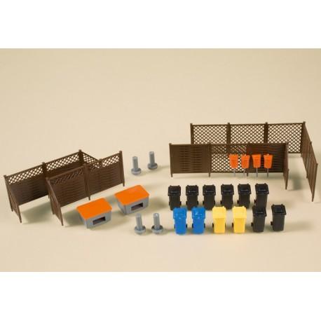 Auhagen 41648, Akcesoria miejskie: kosze na śmieci, skrzynie na piasek, panele ogrodzeniowe, zapory drogowe, skala H0