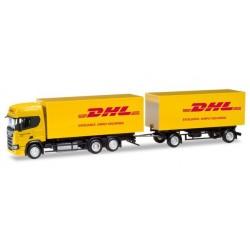 """Herpa 309400, Scania CR ND """"DHL"""", skala H0."""