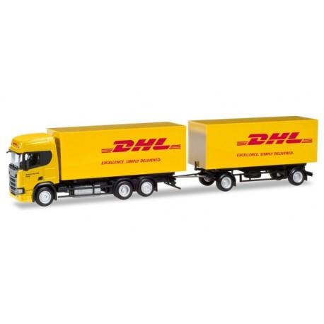 """Herpa 309400, Scania CR ND """"DHL"""", skala H0"""