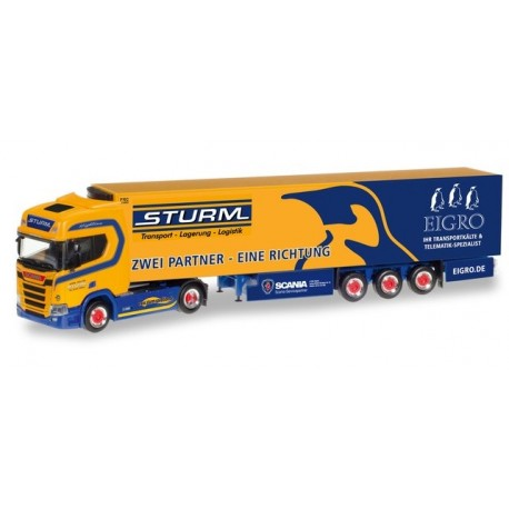 "Herpa 309325, Scania CR Highroof refrigerated box semitrailer ""Sturm / Eigro"", skala H0"
