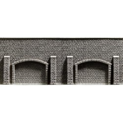 NOCH 34859, Mur oporowy z przyporami i arkadami, 39,6 x 7,4 cm, skala N (1:160).