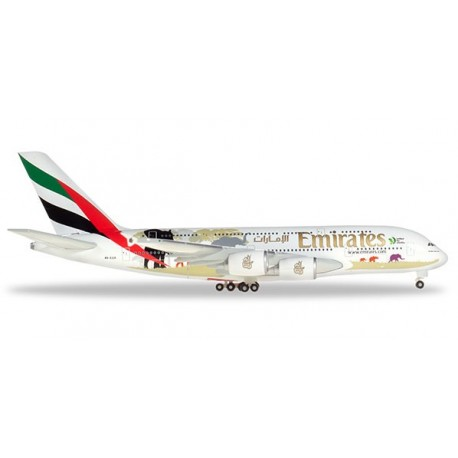 "HERPA 532723, Emirates Airbus A380 ""United for Wildlife"", skala 1:500."