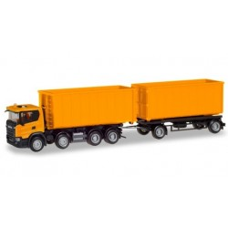 Herpa 309950, Scania CG 17 8×4 roll-off container trailer, skala H0.