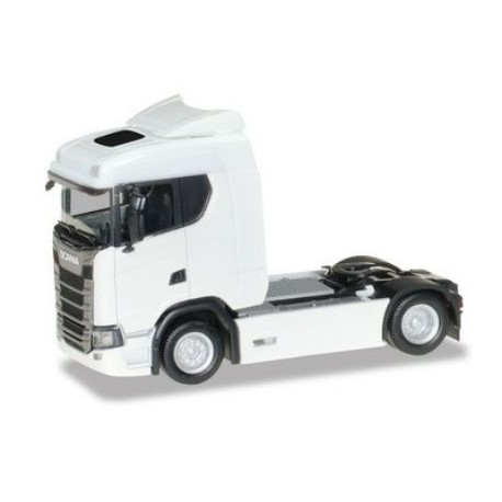 Herpa 310192, Scania CS 20 low roof tractor, white, skala H0.