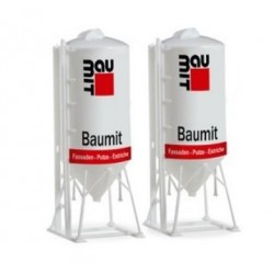 "HERPA 076883, Dwa silosy budowlane 22,5m³ ""BauMit"", skala H0."