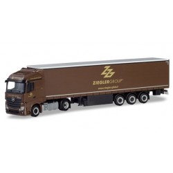 "Herpa 310260, Mercedes-Benz Actros Streamspace curtain canvas semitrailer ""Ziegler Group"", skala H0."