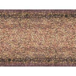 """NOCH 56605, Stara żółta cegła, mur, droga..., Dekor, karton """"3D"""" strukturalny, wytłaczany, skala H0."""