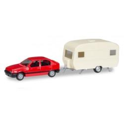 Herpa 013420, Opel Kadett E GLS z przyczepą kempingową, MiniKit, skala H0.