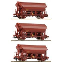 Roco 76178, Zestaw 3 x wagon samowyładowczy Tds, ep IV-V, SNCF, skala H0.