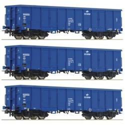 ROCO 76128, Zestaw: trzy wagony Eaos, PKP Cargo, ep.VI, skala H0.