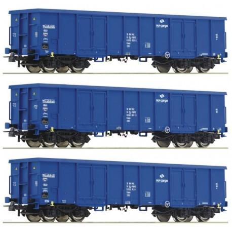 ROCO 76128, Trzy wagony Eaos PKP Cargo, ep.VI, H0