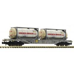 "Fleischmann 825211, Wagon kontenerowy Sgnss AAE i dwa kontenery zbiornikowe ""Van den Bosch"", skala N."