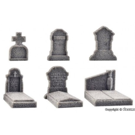 Vollmer 48282, Nagrobki cmentarne, zestaw, 6 sztuk, skala H0.