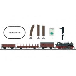 TRIX 21530, Zestaw startowy: pociąg towarowy. Parowóz BR74 DB + 3 x wagon. Skala H0.