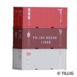Tillig 07707, Trzy kontenery 20`, DSR, PLO, SZD, zestaw, skala TT