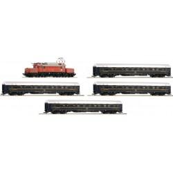 ROCO 61468, Skład pociągu ÖBB CIWL: elektrowóz Rh1020 + 4 wagony sypialne, ep.IV, skala H0.