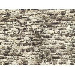 NOCH 57700, Mur z granitu, dekor kartonowy strukturalny, wytłaczany, 64 x 15 cm, skala H0 / TT.