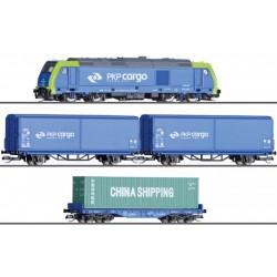 Tillig 01400, TT Zestaw startowy PKP Cargo, lokomotywa spalinowa TRAXX i 3 wagony towarowe, TT (1:120).