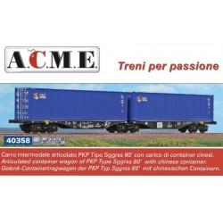"A.C.M.E. 40358, Podwójna platforma Sggrss 80' z kontenerami ""CRCT"", PKP Cargo, ep.V/VI, skala H0."