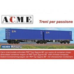 "A.C.M.E. 40359, Podwójna platforma Sggrss 80' z kontenerami ""CRCT"", PKP Cargo, ep.V/VI, skala H0."