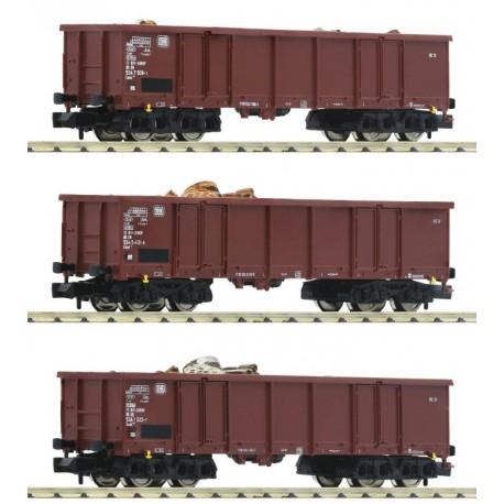 Fleischmann 828345. Zestaw trzech wagonów z ładunkiem złomu, DB, ep.IV, skala N.