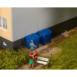 Faller 180914, Kontenery na śmieci, niebieskie, skala H0.