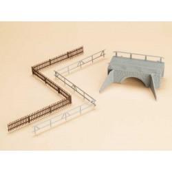 Auhagen 42555, Mały mostek, ogrodzenia. Skala H0 (TT).