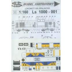 SM N001, Lokomotywa spalinowa Ls 1000-001 (PKP), model kartonowy d/s, skala N (1:160).