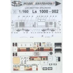 SM N002, Lokomotywa spalinowa Ls 1000-002 PTK (PKP), model kartonowy d/s, skala N (1:160).