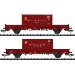 """TRIX 24555, PKP, zestaw dwóch wagonów platform 24Z (Ks-x) z kontenerami """"PLO"""", ep.IV, skala H0."""