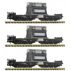 "Fleischmann 845511. Zestaw: trzy wagony Samms ""Krupp-Stahl"", DB, ep. IV, skala N."